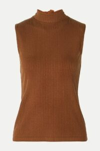 REJINA PYO - Rebecca Tie-neck Ribbed Stretch-tencel Jersey Top - Brown