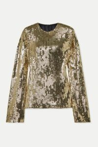 Galvan - Clara Sequined Tulle Top - Gold