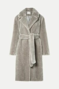 Tibi - Oversized Belted Faux Fur Coat - Stone