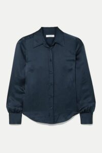 FRAME - 70s Hammered Silk-satin Shirt - Navy