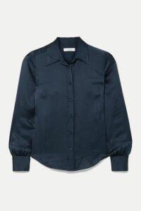FRAME - 70s Hammered Silk-satin Shirt - Navy