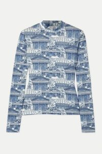 Reformation - Bailey Printed Stretch-tencel Top - Blue