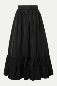 Valentino - Tiered Cotton-blend Poplin Midi Skirt - Black