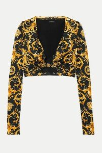 Versace - Cropped Embellished Printed Satin-jersey Top - Black