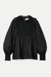 The Great - The Portrait Tulle-trimmed Flocked Cotton-blend Voile Blouse - Black