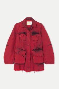 Marques' Almeida - Frayed Acid-wash Denim Jacket - Red