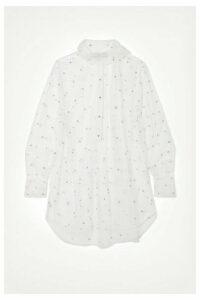 Valentino - Oversized Pussy-bow Crystal-embellished Tulle Shirt - White