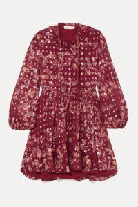 Chloé - Tie-neck Ruffled Floral-print Fil Coupé Silk-chiffon Mini Dress - Burgundy