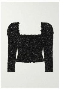 Reformation - Elisabetta Cropped Smocked Polka-dot Georgette Top - Black