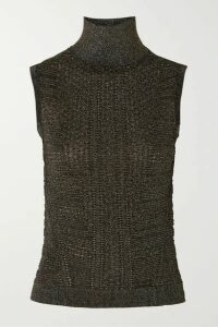 Chloé - Metallic Ribbed-knit Turtleneck Top - Black