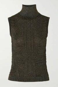 Chloé - Metallic Ribbed-knit Turtleneck Top - Black