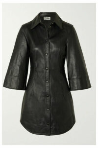 GANNI - Leather Mini Dress - Black