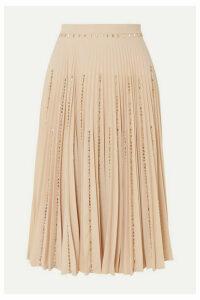 Burberry - Crystal-embellished Pleated Crepe Midi Skirt - Cream