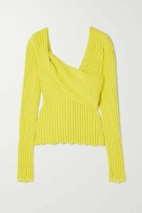 Bottega Veneta - Paneled Ribbed Cotton-blend Bouclé Sweater - Yellow
