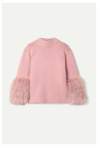 Sally LaPointe - Shearling-trimmed Merino Wool And Cashmere-blend Sweater - Baby pink