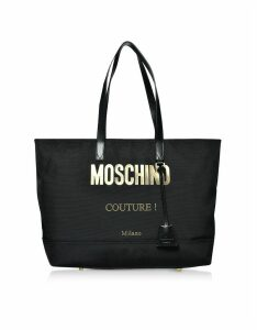 Moschino Designer Handbags, Black Nylon Signature Couture Tote Bag