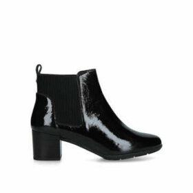 Carvela Comfort Reena - Black Patent Block Heel Ankle Boots
