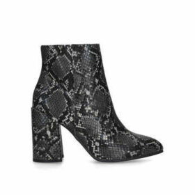 Steve Madden Therese - Grey Snake Print Block Heel Ankle Boots