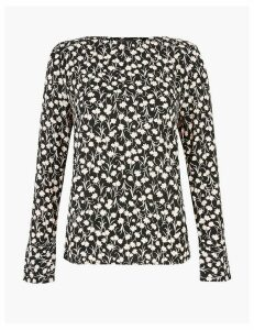 M&S Collection Floral Woven Long Sleeve Top