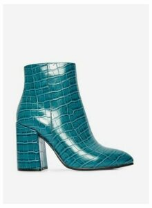 Womens Teal Croc Pattern 'Absolute' Ankle Boots- Blue, Blue