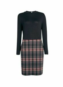 Womens Pink And Black Check Print 2-In-1 Jersey Dress, Pink