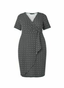 Womens **Dp Curve Black Geometric Print Wrap Dress, Black