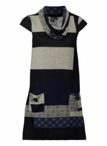 Womens Izabel London Navy Patchwork Knitted Dress - Blue, Blue