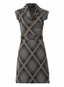 Womens Izabel London Multi Colour Check Print Knitted Dress - Black, Black