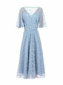 Womens Jolie Moi Blue Lace Midi Dress, Blue