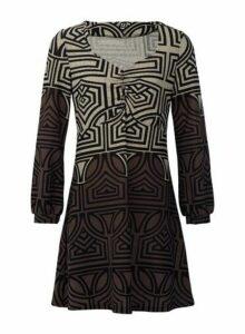 Womens *Izabel London Stone Geometric Print Tunic Dress - Brown, Brown