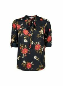 Womens Petite Multi Colour Rose Print Tie Top- Black, Black