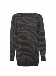 Womens Black Zebra Pattern Sparkle Longline Cotton Blend Jumper, Black