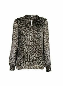 Womens **Billie & Blossom Multi Colour Leopard Print Long Sleeve Foil Top- White, White