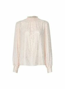 Womens Blush Foil Shirred Neck Top- Pink, Pink