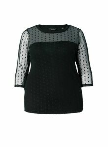 Womens Dp Curve Black Geometric Print Mesh Top, Black