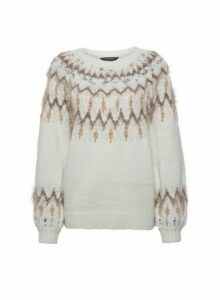Womens Cream Feather Fairisle Yoke Jumper, Cream