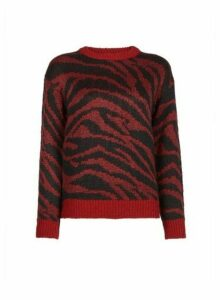 Womens Petite Red Abstract Jumper, Red