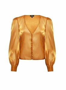 Womens **Lola Skye Gold Organza Blouse, Gold