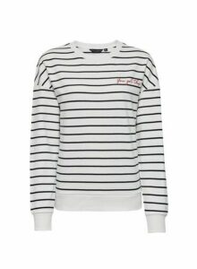 Womens Breast Cancer Care Black And White You Got This Striped Cotton Sweatshirt, White
