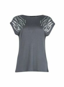 Womens Breast Cancer Care Grey Shoulder Sequin T-Shirt, Grey