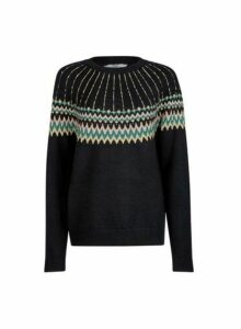 Womens Tall Black Fairisle Jumper, Black