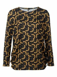 Womens *Izabel London Mustard Retro Print Top- Yellow, Yellow