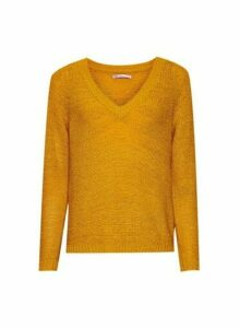 Womens **Only Yellow V-Neck Jumper- Orange, Orange