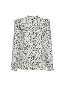 Womens Monochrome Spot Print Frill Collar Shirt - Black, Black