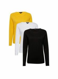 Womens 3 Pack Black, White And Ochre Long Sleeve Crew Neck Cotton Top- Multi Colour, Multi Colour
