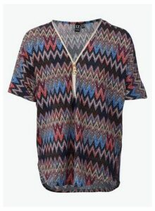 Womens *Izabel London Multi Colour Chevron Prnt Top- Blue, Blue