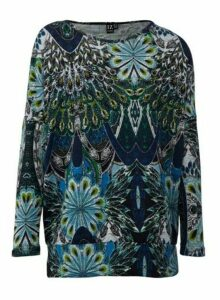 Womens Izabel London Teal Peacock Print Jumper - Blue, Blue