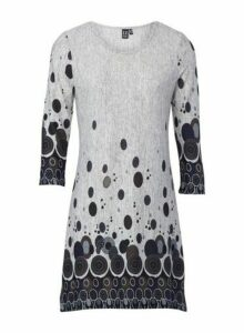 Womens *Izabel London Grey Border Print Knitted Jumper, Grey
