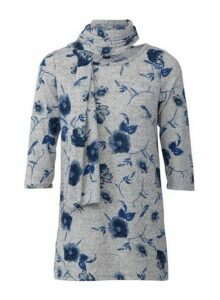 Womens *Izabel London Grey Floral Print Top With Scarf, Grey