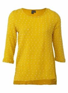 Womens *Izabel London Mustard Dot Jumper- Yellow, Yellow